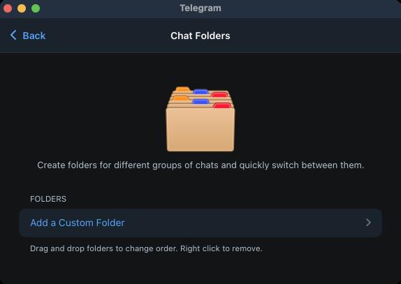 Organize chats into folders on Telegram.