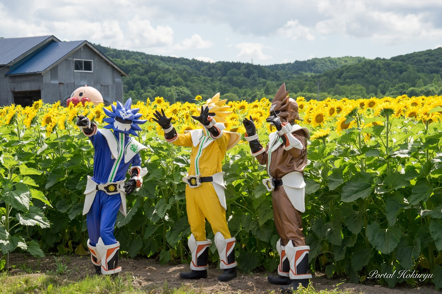 ひまわり畑を守るヒーローたち