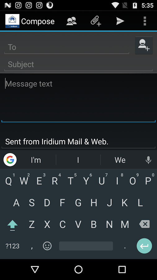 Iridium Mail & Web- screenshot