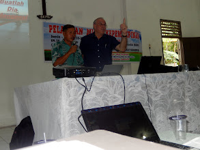 Photo: Teaching at the pastors conference with Petrus Zagoto B. Ed as my interpreter.