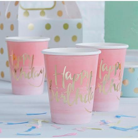 Muggar rosa ombre Happy Birthday