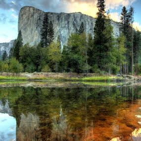 El Capitan by Josh Norem - Landscapes Mountains & Hills ( mountains, sierras, yosemite, el capitan, california, reflections, sunrise )