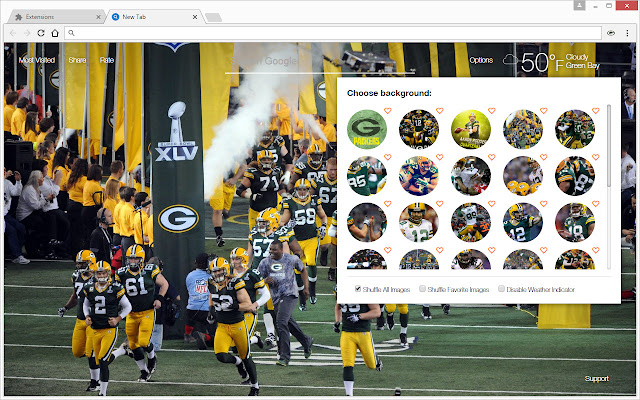 Nfl green bay packers wallpapers hd new tab chrome web store voltagebd Image collections