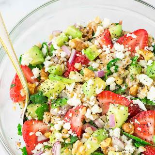 Strawberry Farro Salad with Avocado and Feta.