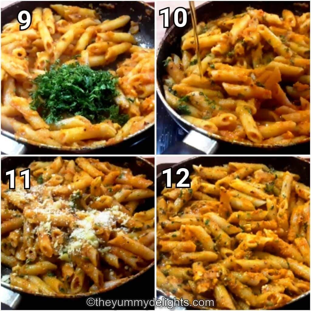 step by step collage of garnishing the pasta with fresh parsley & parmesan cheese