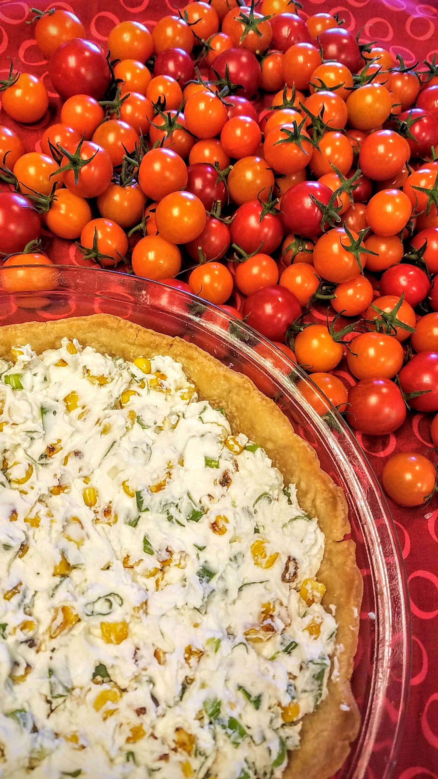 Tomato Pie Recipe with Fresh Cheeses and Uncooked Cherry Tomatoes