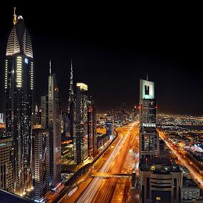 Sheik Zayed by O J - City,  Street & Park  Skylines ( skyline, dubai, uae, sheik zayed, night )