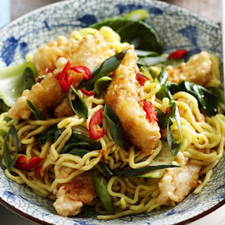 Crispy Fish with Asian Noodles.