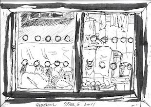 Photo: 覘視孔2011.03.06鋼筆 透過覘視孔的透明壓克力看舍房內的情景,有時我會有種錯覺,收容人像是生活在這個小框框裡…