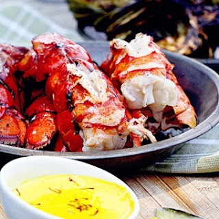 Grilled Lobster Tails with Lemon Saffron Aioli.