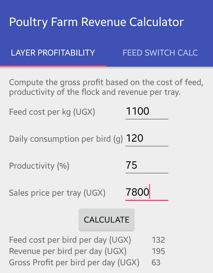 Poultry Farm Revenue Calc- screenshot