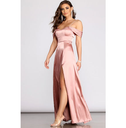 Zyra  Off-shoulder Maxi Satin Dress