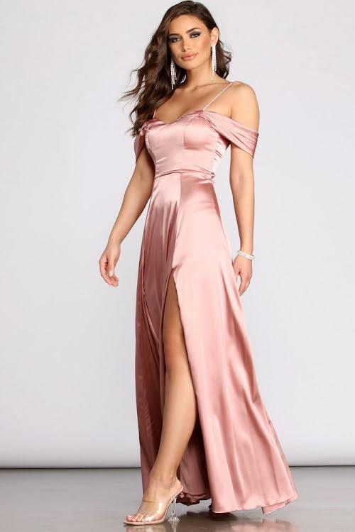 Zyra  Off-shoulder Maxi Satin Dress