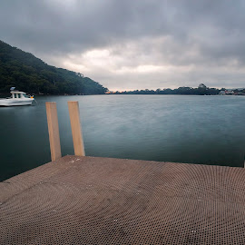 The Wharf by Geoffrey Wols - Buildings & Architecture Other Exteriors ( mountains, dark, dawn, pheagans bay, clouds, water,  )