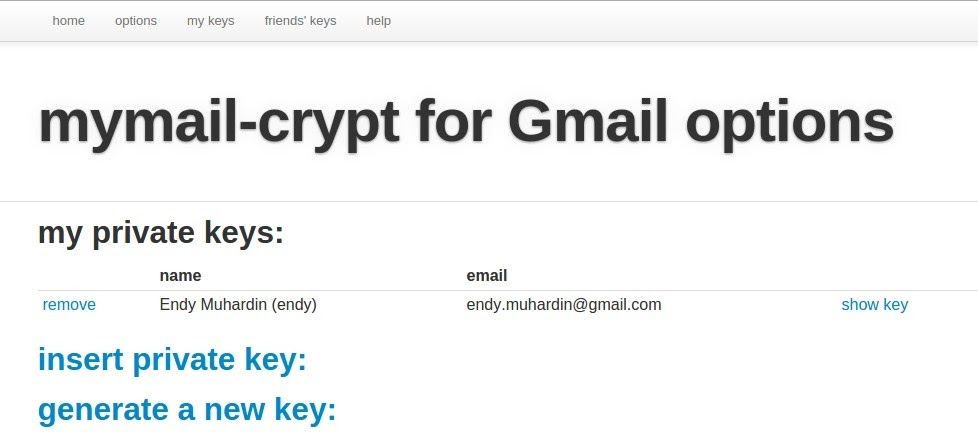 Private Key terdaftar