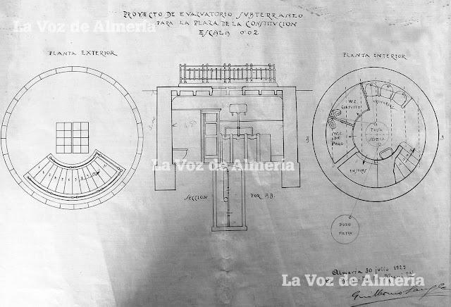 Proyecto del evacuatorio de la Plaza Vieja obra del arquitecto Guillermo Langle.