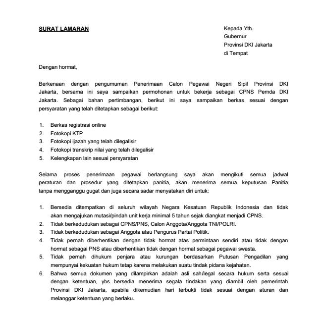 Isi Surat Penawaran: Contoh Surat Lamaran Kerja CPNS