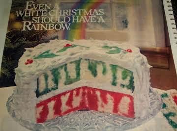 CHRISTMAS RAINBOW  JELL-O POKE CAKE..1980