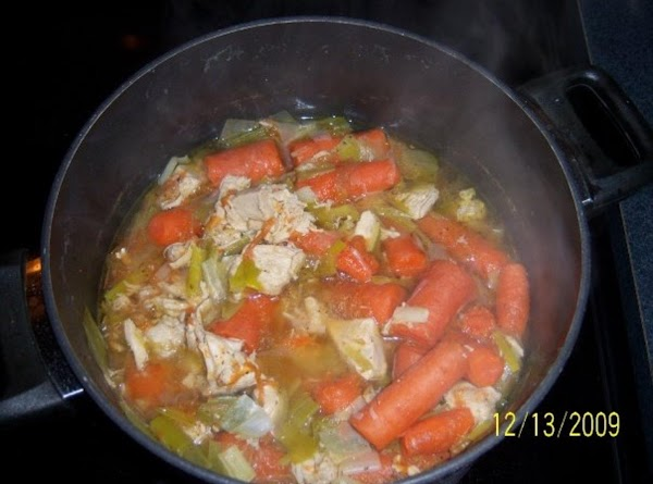 fill large stock pot with h20 to cover the bird. boil chicky, add bouillion cubes....