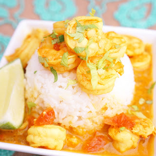 Red Coconut Curry with Shrimp and Rice.
