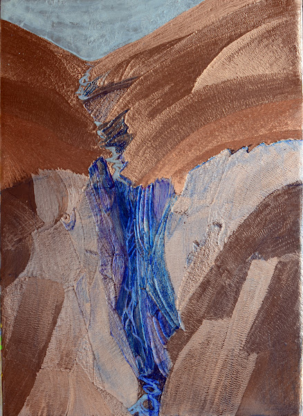 "Photo: Waterfall  carved copper with aluminum foil alkyd paint and acrylic glaze 9"" x 15"" available $750 2012"
