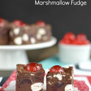 Chocolate Cherry Marshmallow Fudge.