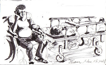 Photo: 愁容2011.11.15鋼筆 監所裡患有慢性病的收容人向來都是關得最辛苦的一群,臥床的這位才剛進門就在我面對跌倒;坐輪椅的這位則是滿面愁容,因為雙腿怎麼也好不了…