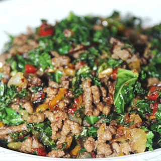 Sauteed Ground Beef and Kale.