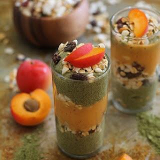 Matcha Chia Seed Pudding and Apricot Smoothie Parfaits.