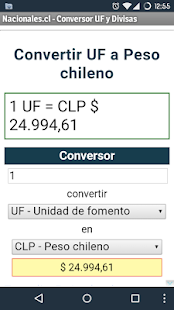 UF, CLP, USD, EUR converter- screenshot thumbnail