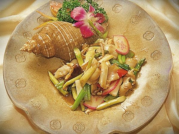 角螺炒蘆筍