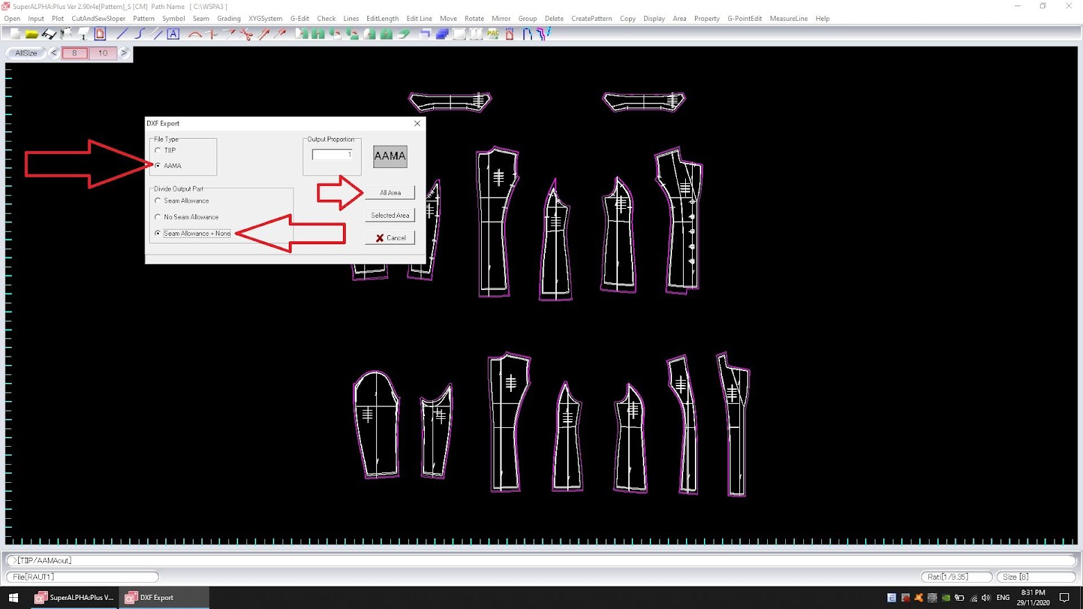 Cách Export Dxf Bộ Rập Pan Hoặc Pax Của Yuka SuperAlpha-Plus 11