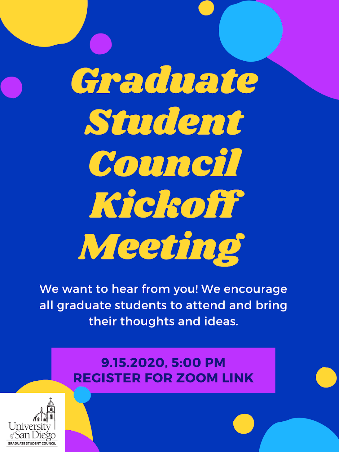 GSC Kick-off Meeting, September 15 from 5-6pm