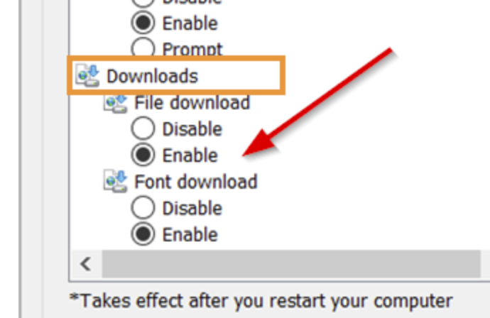 Enable File download option