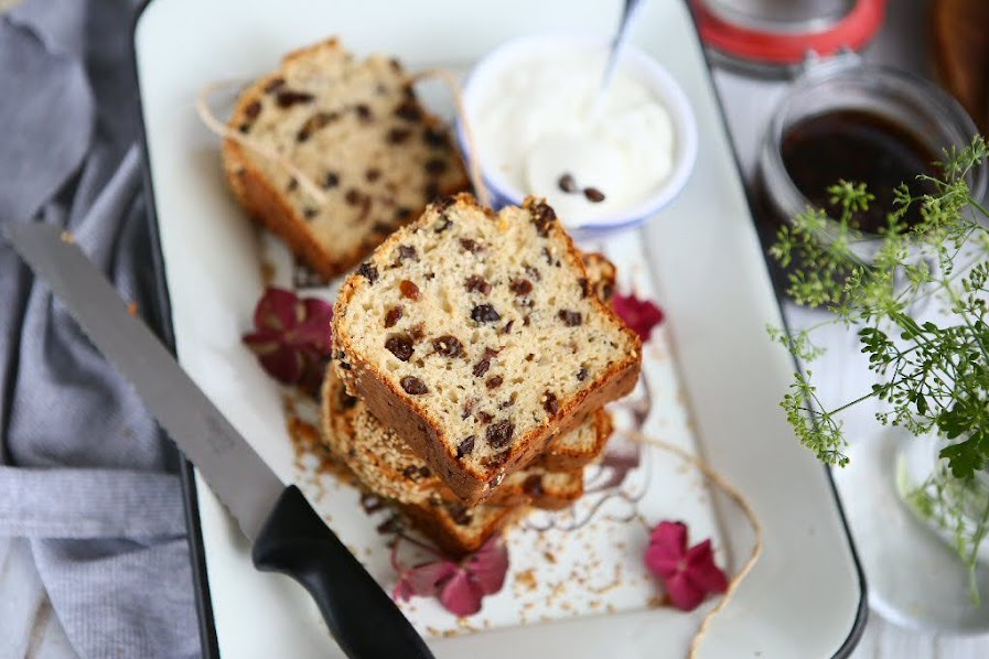 Mascarpone Raisin Loaf with Sesame Seeds
