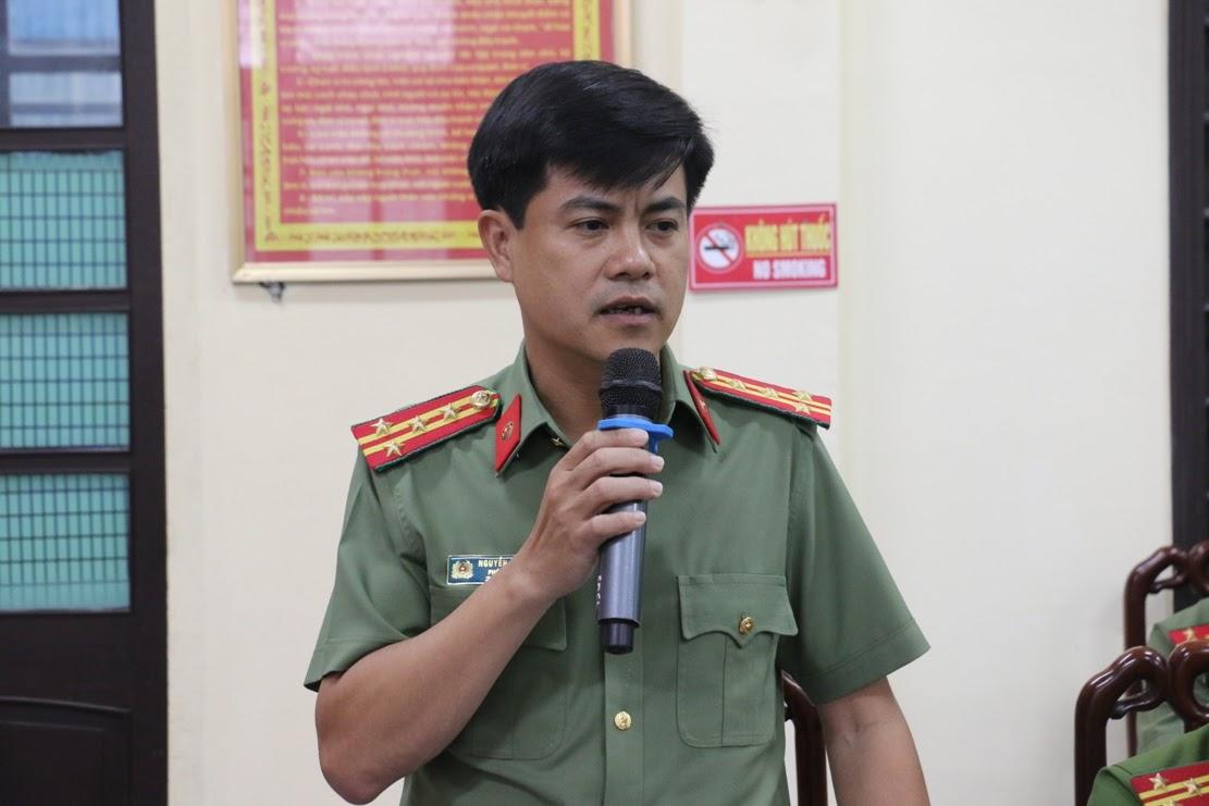 Đồng chí Đại tá Nguyễn Đức Hải, Phó Giám đốc Công an tỉnh phát biểu tại buổi làm việc