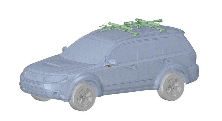 Геометрическая модель, дополненная поперечинами, креплениями для лыж и парой лыж