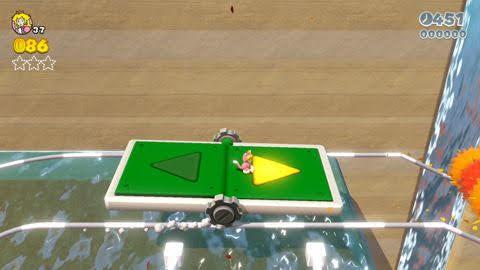 『スーパーマリオ3Dワールド』WORLD3-7「あっちこっち トロッコの谷」トロッコの矢印◀▶