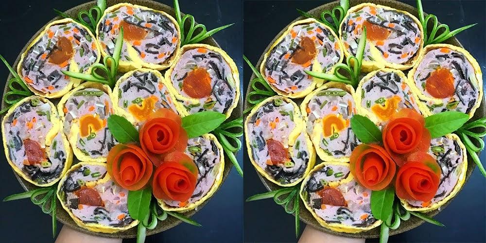 Cách làm giò hoa ngũ sắc đơn giản, vừa ngon vừa đẹp mắt