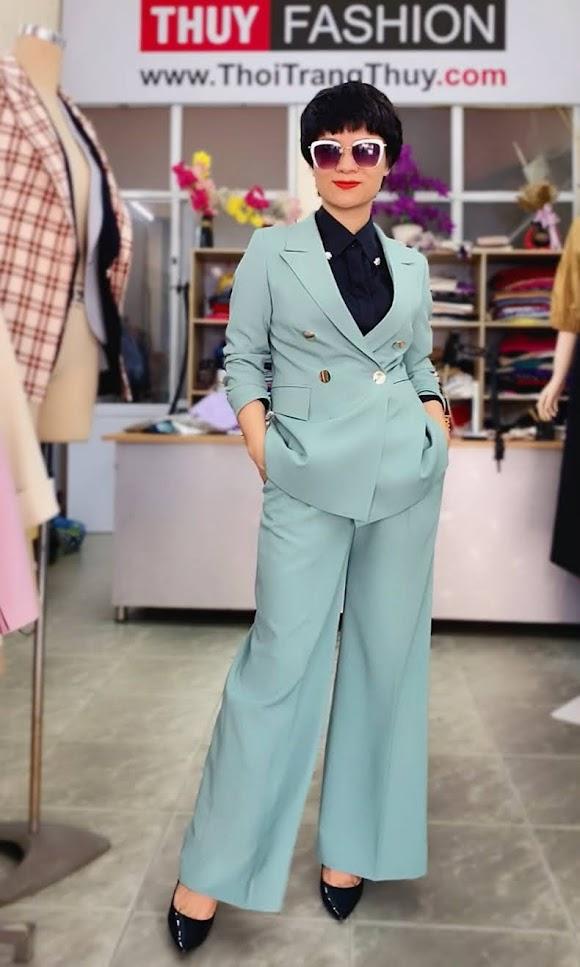 Áo vest nữ mix đồ quần ống suông màu xanh V726 thời trang thủy hà nội