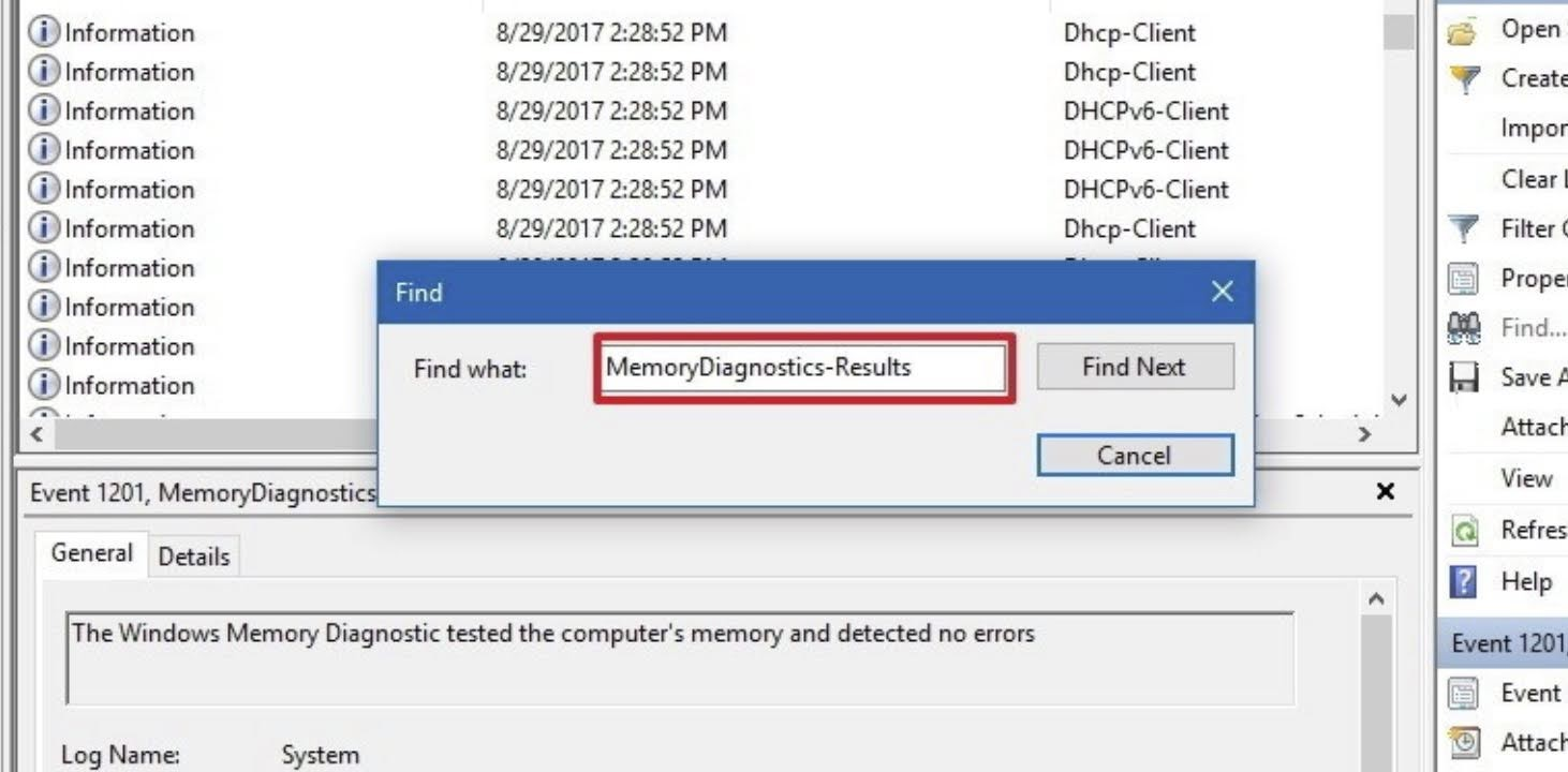 Type MemoryDiagnostics-Results in Find what, and click the Find Next button.