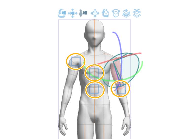 クリスタ3Dデッサン人形のパーツを固定(複数)