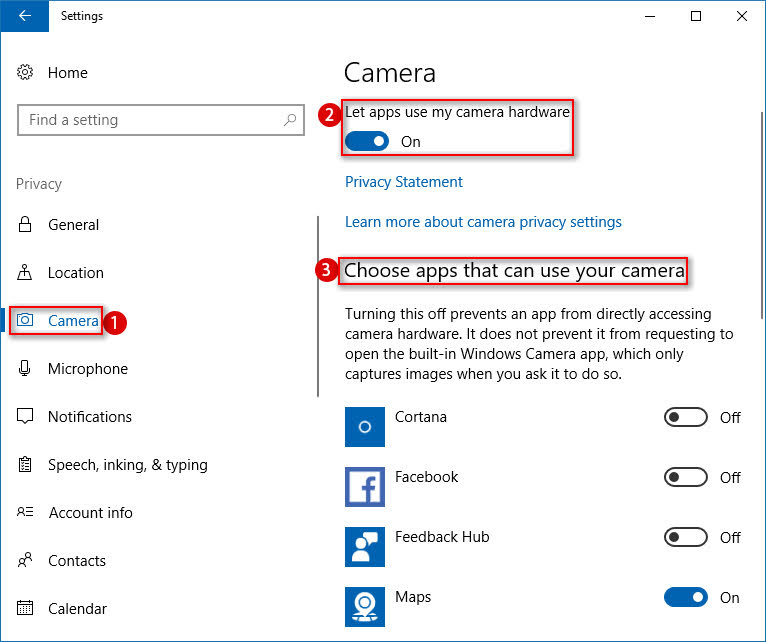 """Enable """"Let apps use my camera hardware"""" Setting"""