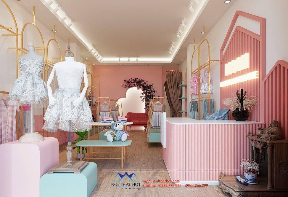Thiết kế shop thời trang trẻ em màu hồng