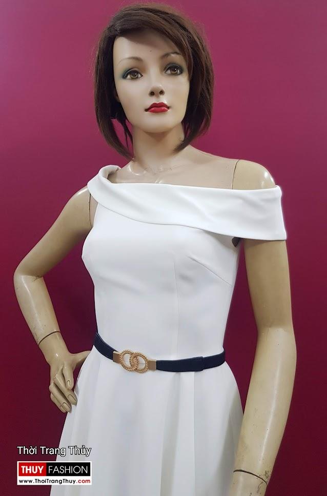 Váy xòe dự tiệc hở vai màu trắng V706 thời trang thủy đà nẵng