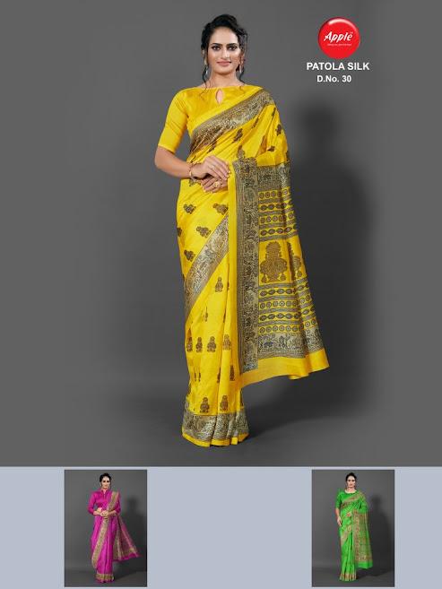 Apple Patola Silk Design No 30 Colour Chart Sarees Catalog Lowest Price