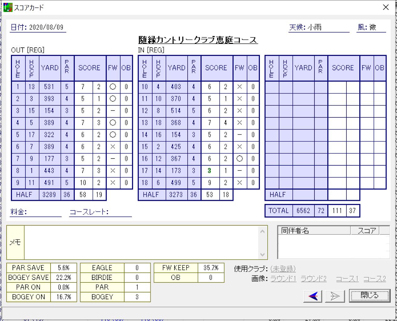 2020年夏ゴルフ大会 in北海道 第6戦 - 隨縁カントリークラブ恵庭コース