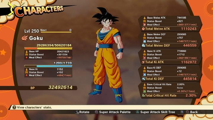 Son Goku Level 250 base Stat + Chi chi Full Course