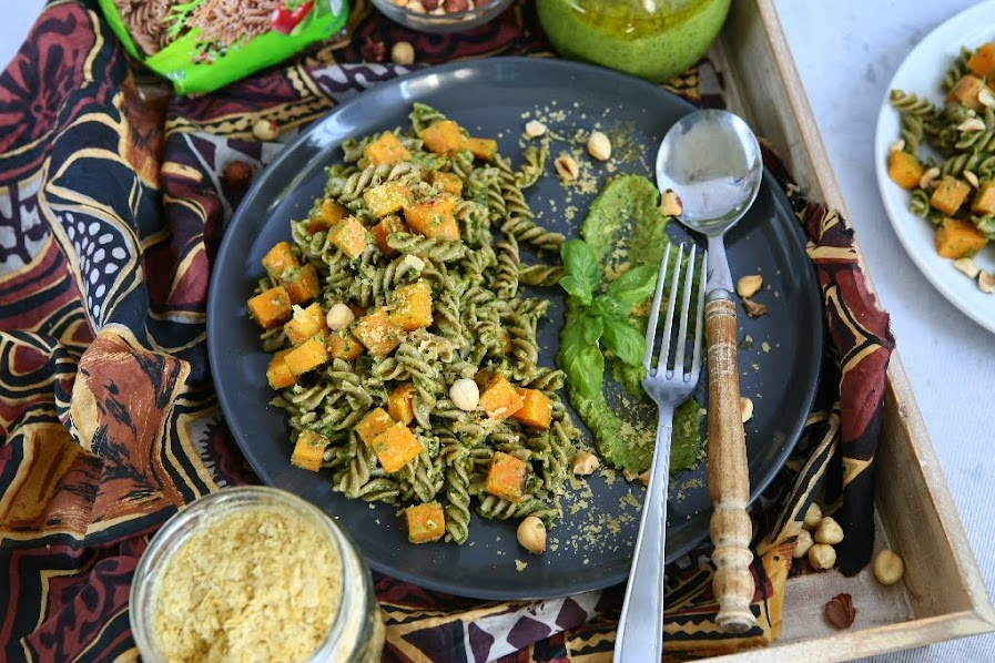 Spelt Spirals with Hazelnut Pesto, Roasted Sweet Potato and Nutritional Yeast