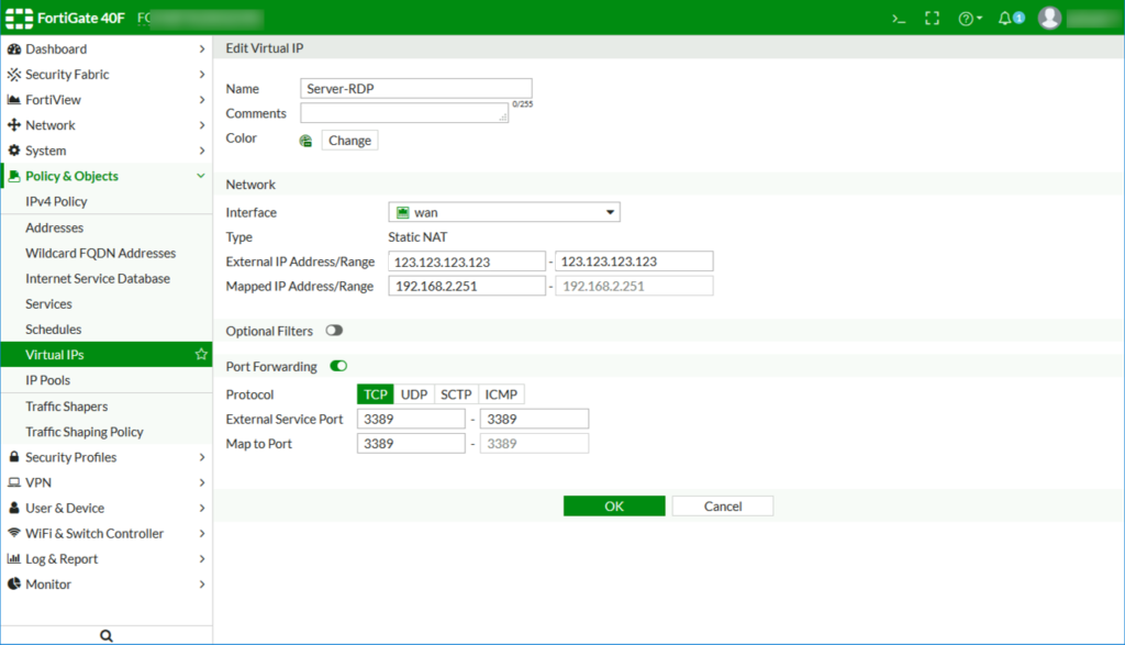Settings to create new Virtual IP